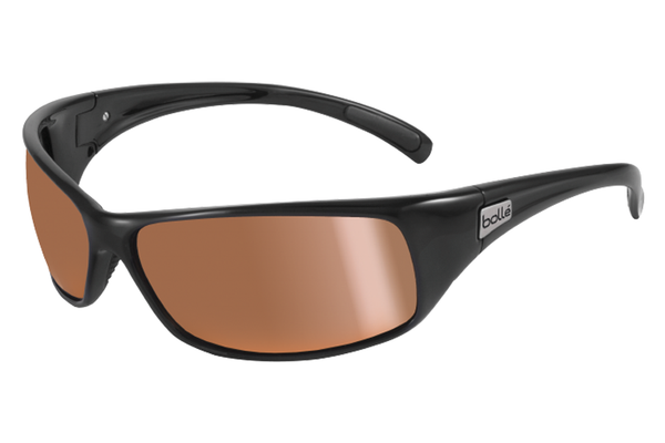 Bolle - Recoil Shiny Black Sunglasses, Inland Gold Oleo AR Polarized Lenses