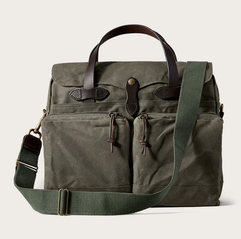 Filson - 24-Hour Tin Cloth Otter Green Brass Briefcase