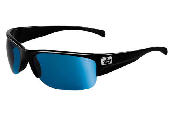 Bolle - Zander Shiny Black Sunglasses, Offshore Blue Oleo AR Polarized Lenses
