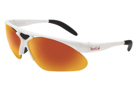 Bolle - Parole Shiny White Sunglasses, TNS Fire Lenses