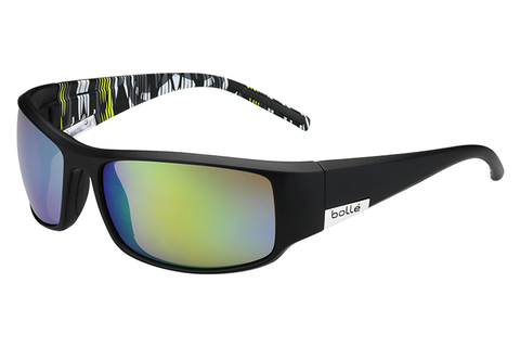 Bolle - King Matte Black/Lime Zebra Sunglasses, Brown Emerald Oleo AF Polarized Lenses