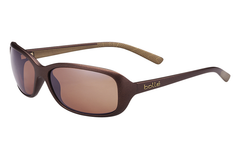 Bolle - Molly Matte Chocolate/Gold Sunglasses, Sandstone Gun Oleo AR Polarized Lenses