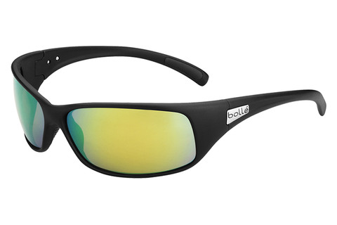Bolle - Recoil Matte Black Sunglasses, Brown Emerald Oleo AF Polarized Lenses