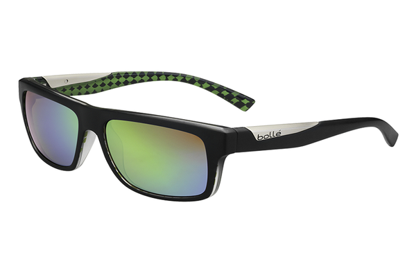 Bolle - Clint Matte Black Lime Sunglasses, Brown Emerald Oleo AR Polarized Lenses