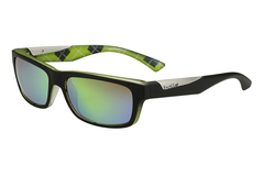 Bolle - Jude Matte Black /Lime Sunglasses, Brown Emerald Oleo AR Polarized Lenses