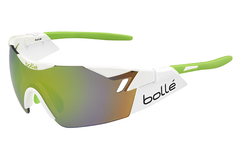 Bolle - 6th Sense Shiny White/Lime Sunglasses, Modulator Green Emerald Oleo AF Lenses