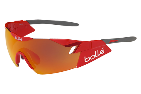 Bolle - 6th Sense Shiny Red/Grey Sunglasses, TNS Fire Oleo AF Lenses