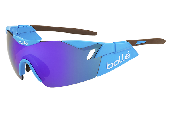 Bolle - 6th Sense Shiny Blue/Brown Sunglasses, Blue Violet Oleo AF Lenses