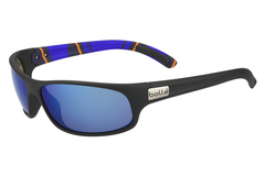 Bolle -  Anaconda Matte Black/Stripes Sunglasses, Offshore Blue Oleo AR Polarized Lenses