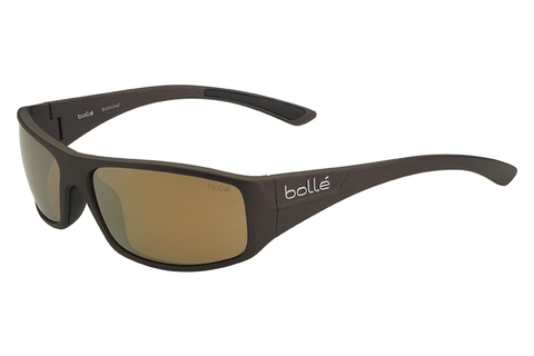 Bolle -  Weaver Matte Brown Sunglasses, Inland Gold Oleo AR Polarized Lenses