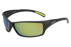 Bolle - Slice Matte Black Sunglasses, Brown Emerald Lenses