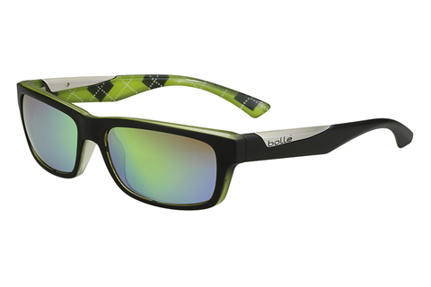 Bolle - Jude Matte Black / Lime Sunglasses, Brown Emerald Lenses