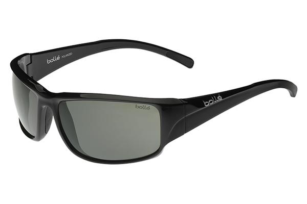 Bolle - Keelback Shiny Black Sunglasses, Modulator Polarized Grey Oleo AF Lenses