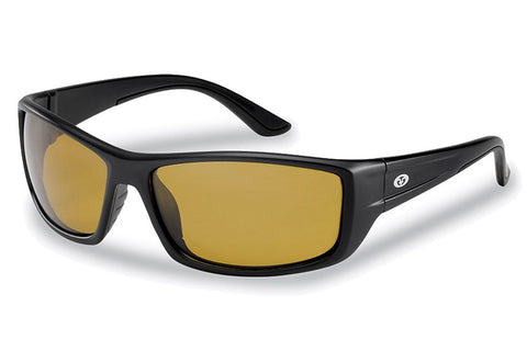 Flying Fisherman - Buchanan 7719 Matte Black Sunglasses, Yellow-Amber Lenses