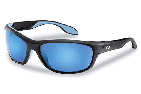Flying Fisherman - Cayo 7824 Matte Black Sunglasses, Smoke-Blue Mirror Lenses