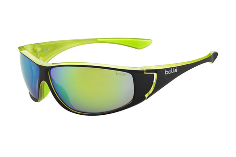 Bolle - Highwood Shiny Black / Lime Sunglasses, Brown Emerald Lenses