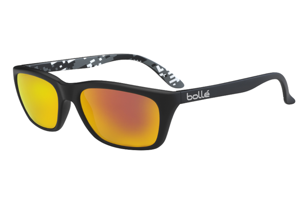 Bolle - 527 Matte Black Camo Sunglasses, Polarized TNS Fire Oleo AR Lenses