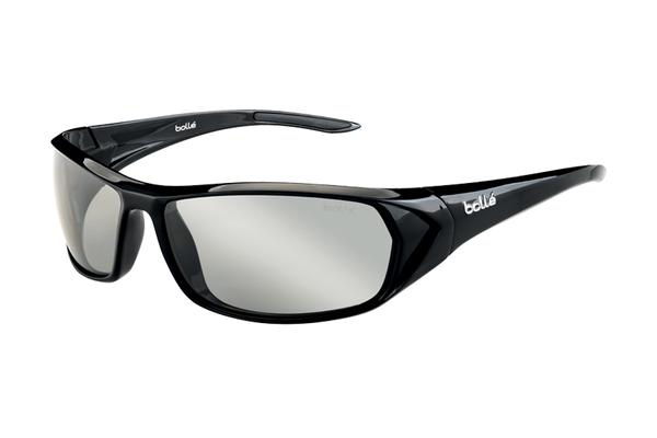 Bolle - Blacktail Shiny Black Sunglasses, Modulator Grey Polarized Lenses