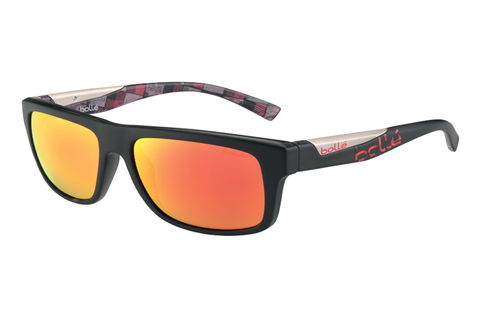 Bolle - Clint Matte Black/Red Plaid Sunglasses, TNS Fire Lenses