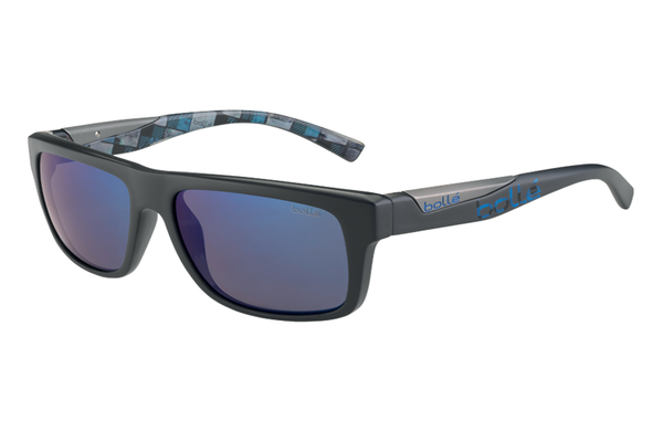 Bolle - Clint Matte Grey/Blue Plaid Sunglasses, GB10 Lenses