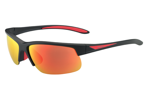 Bolle - Breaker Matte Black/Red Sunglasses, Fire Oleo AF Polarized Lenses