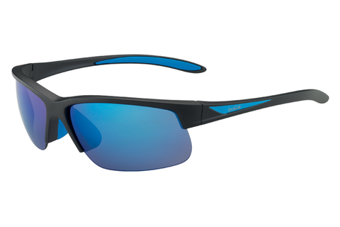 Bolle - Breaker Matte Black/Blue Sunglasses, Polarized Offshore Blue Oleo AR Lenses