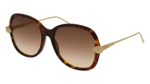 Boucheron - BC0032S Havana Gold Sunglasses / Brown Lenses