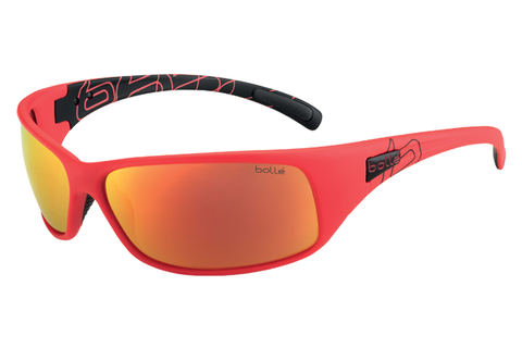 Bolle -  Recoil Matte Red/Black Sunglasses, Fire Oleo AF Polarized Lenses