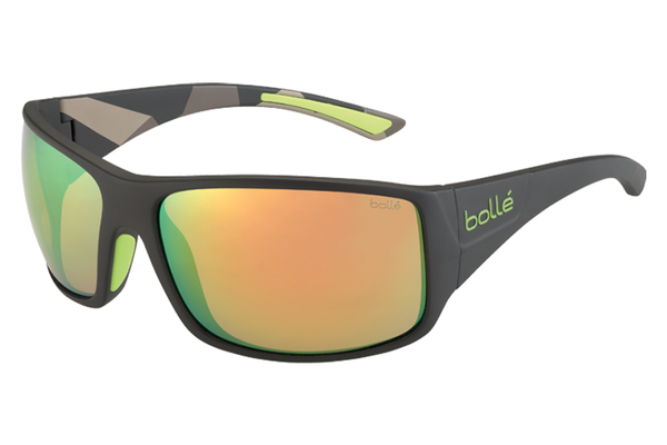 Bolle - Tigersnake Matte Smoke/Green Sunglasses, Brown Emerald Oleo AF Lenses