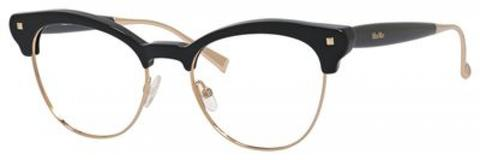Max Mara - 1271 Black Rose Gold Eyeglasses / Demo Lenses