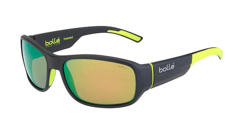 Bolle - Heron Matte Dark Gray Yellow Sunglasses / Polarized Brown Emerald Oleo AR Lenses
