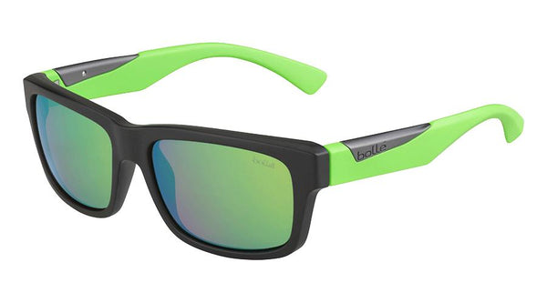 Bolle - Jude Matte Black Green Sunglasses / Brown Emerald Lenses