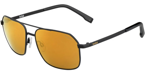 Bolle - Navis Matte Black Sunglasses / HD Polarized Brown Gold Lenses