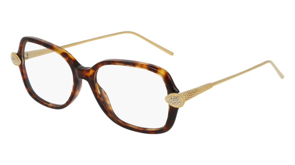 Boucheron - BC0033O Havana Gold Eyeglasses / Demo Lenses