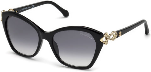 Roberto Cavalli - RC1077 Minucciano Shiny Black Sunglasses / Gradient Smoke Lenses