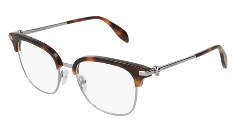 Alexander McQueen - AM0152O Ruthenium Havana Eyeglasses / Demo Lenses