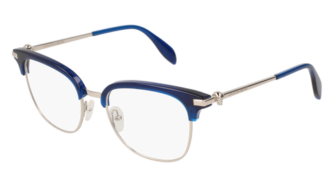 Alexander McQueen - AM0152O Silver Blue Eyeglasses / Demo Lenses