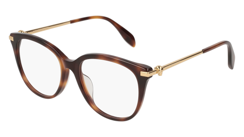 Alexander McQueen - AM0154OA Havana Gold Eyeglasses / Demo Lenses