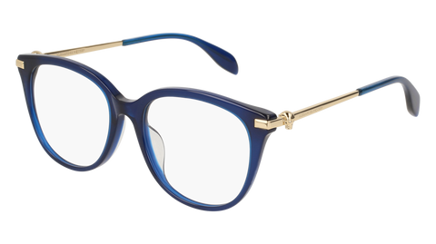 Alexander McQueen - AM0154OA Blue Gold Eyeglasses / Demo Lenses