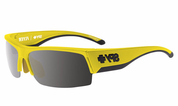 Spy - Flyer Hi Vis Yellow Sunglasses, Happy Bronze W/ Black Mirror + Happy Rose + Clear Lenses