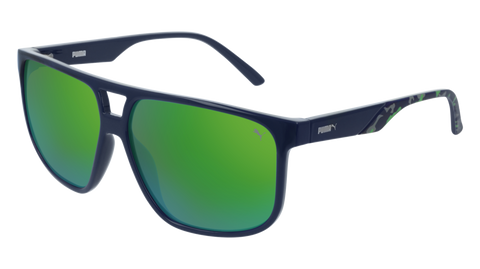 Puma - PU0200S Blue Sunglasses / Green Mirror Lenses