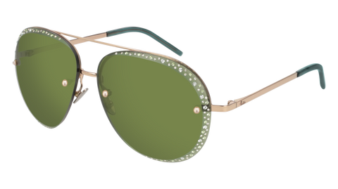 Pomellato - PM0027S 60mm Gold Sunglasses / Violet Green Lenses