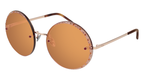 Pomellato - PM0060S 58mm Gold Sunglasses / Red Orange Lenses