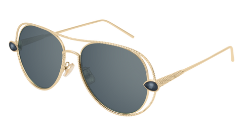 Boucheron - BC0030S Grey Gold Sunglasses / Grey Lenses