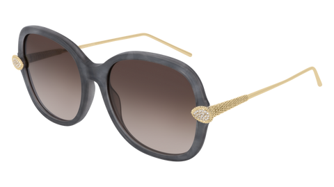 Boucheron - BC0032S Grey Gold Sunglasses / Brown Lenses