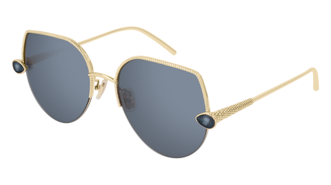 Boucheron - BC0065S Blue Gold Sunglasses / Blue Lenses