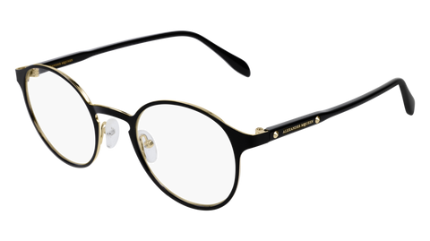 Alexander McQueen - AM0166O Black Gold Eyeglasses / Demo Lenses