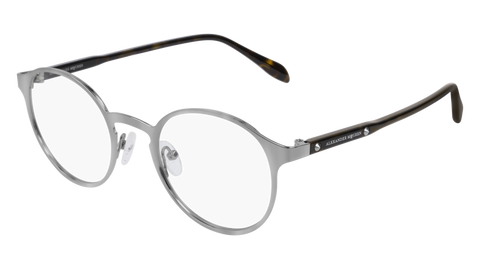 Alexander McQueen - AM0166O Ruthenium Havana Eyeglasses / Demo Lenses