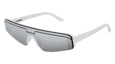 Balenciaga - BB0003S White Sunglasses / Silver Mirror Lenses