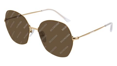 Balenciaga - BB0014S Gold Sunglasses / Brown Mirror Lenses
